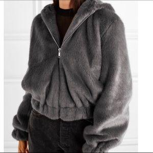 Helmut Lang Faux Fur Bomber Hoodie - Medium